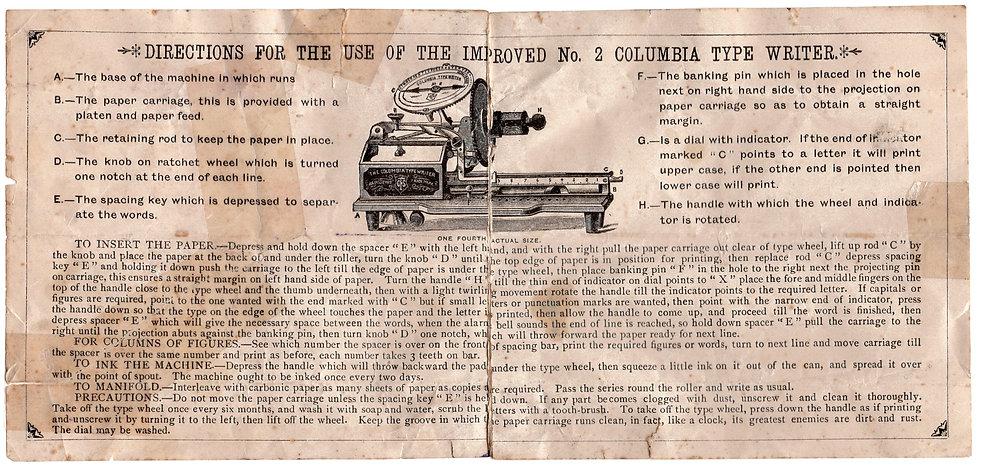 Columbia No.2 Improved Typewriter