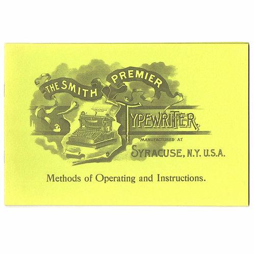 Post Era SMITH PREMIER No.1 TYPEWRITER Instruction Manual Book Antique
