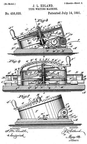 Edland Typewriter Patent