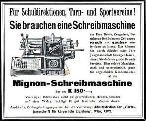 Mignon No.2 Typewriter Ad