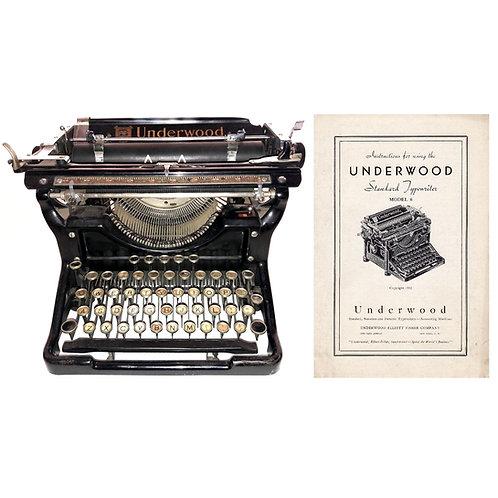Underwood No.6 Typewriter Instruction Manual