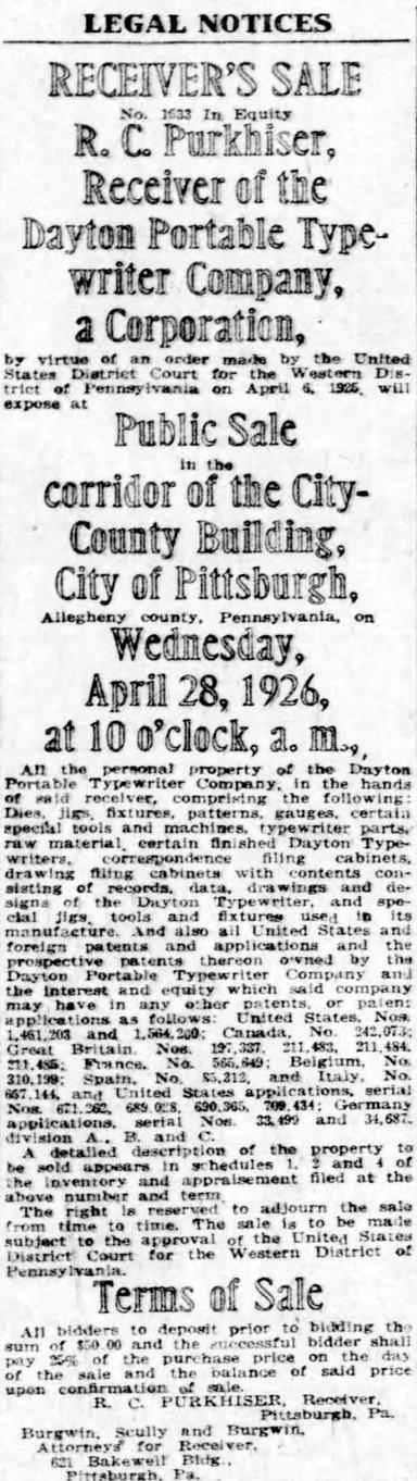 Dayton Typewriter Legal Notice