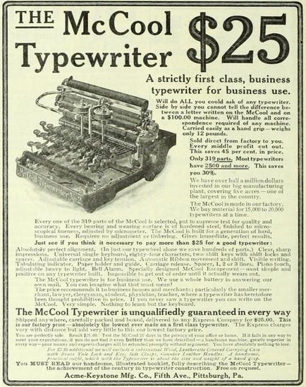 McCool Typewriter No.2 Advertisement