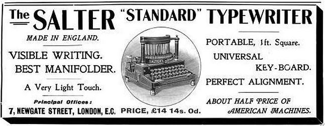 Salter No.6 Typewriter Ad 1901