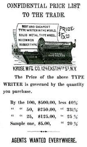 The Kruse Type Writer Ad
