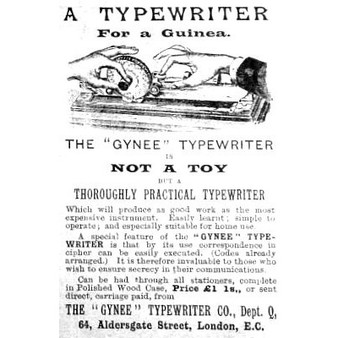 Gynee Index Typewriter Ad