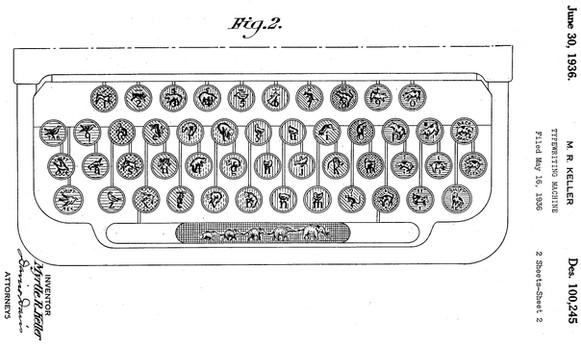 Animal Keyboard Corona Typewriter Patent