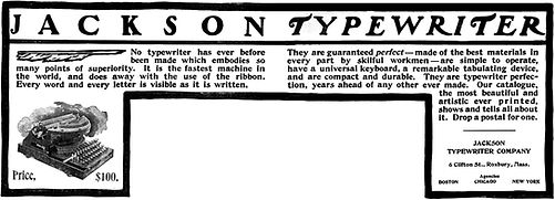 Jackson Typewriter Ad January 1900