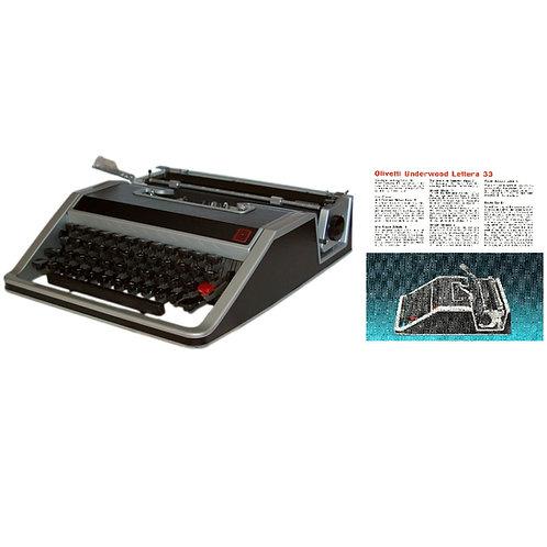 Olivetti Lettera 33 Typewriter Instruction Manual (PDF)