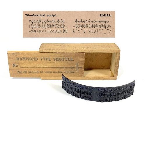 Hammond Typewriter Vertical Script Type Shuttle & Box