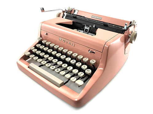 1955 Pink ROYAL QUIET de LUXE Portable Typewriter with Case ; Working