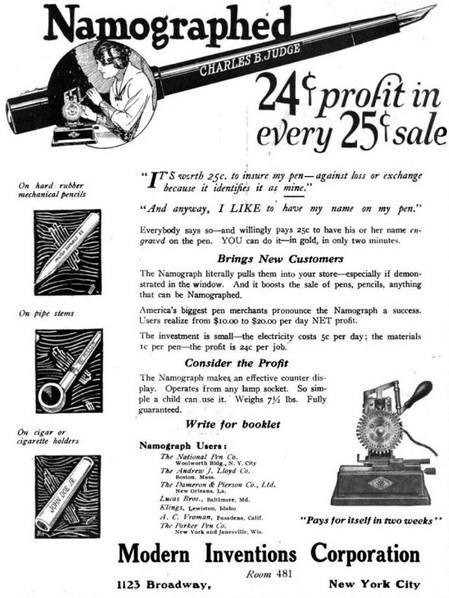 Namograph Ad 1922