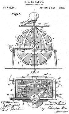 Stamp Printing Machine invented by Samuel C. Hurlbut