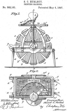 Stamp Printing Machine invented by Samuel C. Hurlbut