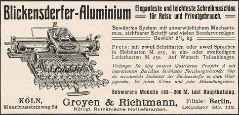 Blickensderfer Aluminum German Ad