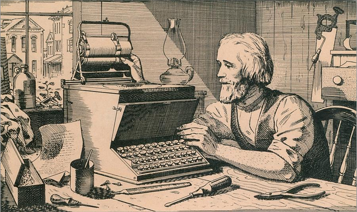 Christopher Latham Sholes working on his typewriter in 1870