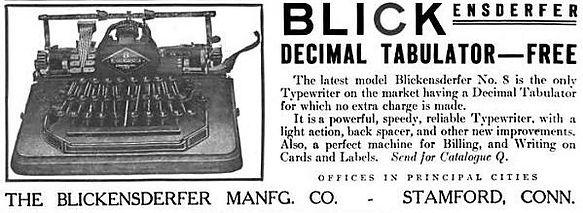 Blickensderfer No.8 Typewriter Ad