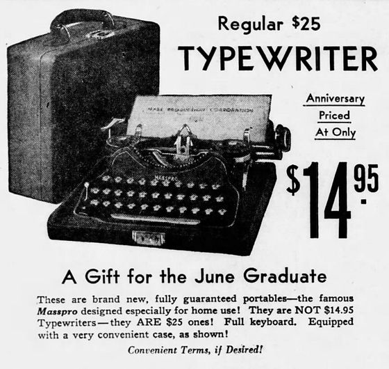 Masspro Typewriter Ad