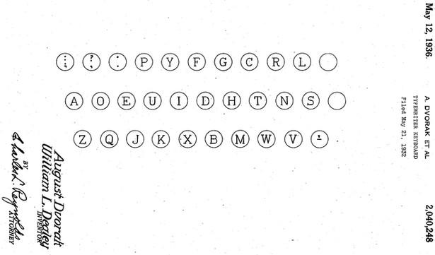 Dvorak Simplified Keyboard Patent