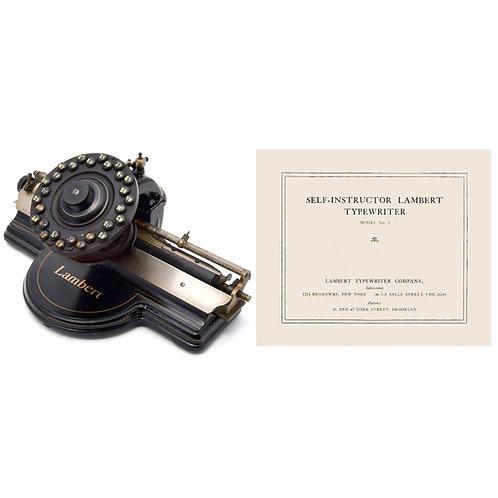 Lambert No.3 Typewriter Instruction Manual