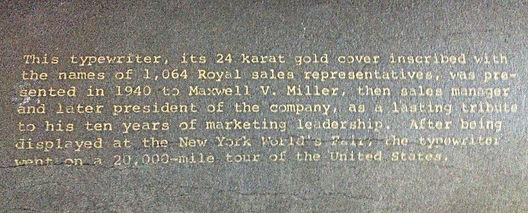 Gold Royal KMM Typewriter