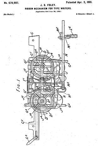 Salter No.6 Typewriter Ribbon Mechanism Patent.