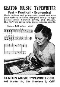 Keaton Music Typewriter Advertisment