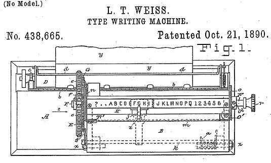 Burns Index Typewriter Patent 438665
