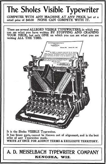Meiselbach Sholes Visible Typewriter Ad