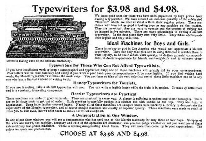 Merritt Typewriter Ad