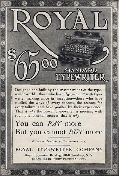 Royal Standard Typewriter Ad