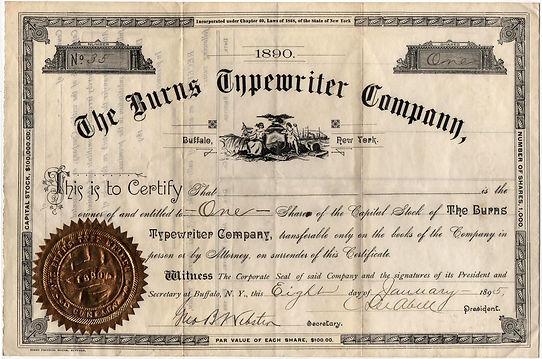 Burns Typewriter Stock Certificate