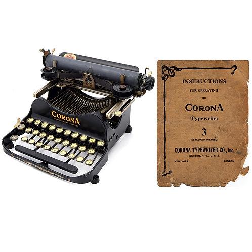 Corona No.3 Typewriter (1912 - 1914 Model) Instruction Manual