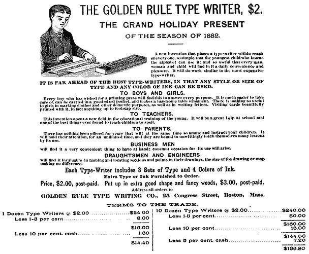 The Golden Rule Typewriter Ad