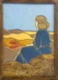 Hartford Faience Tile Woman at Beach