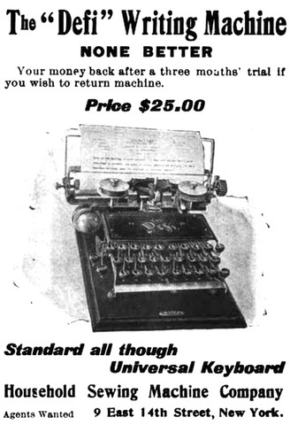 The Defi Typewriter Ad