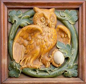 Hartford Faience Tile Owl with Egg