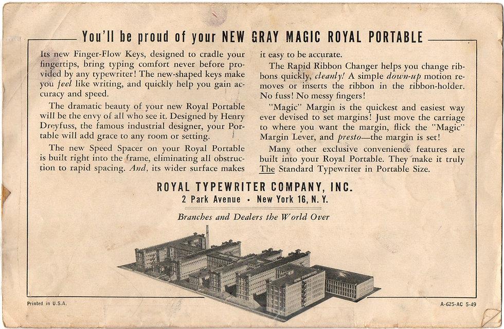 Gray Magic Portable Typewriter Manual