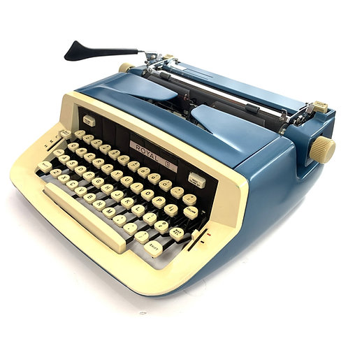 Restored Blue Royal Custom III Portable Typewriter