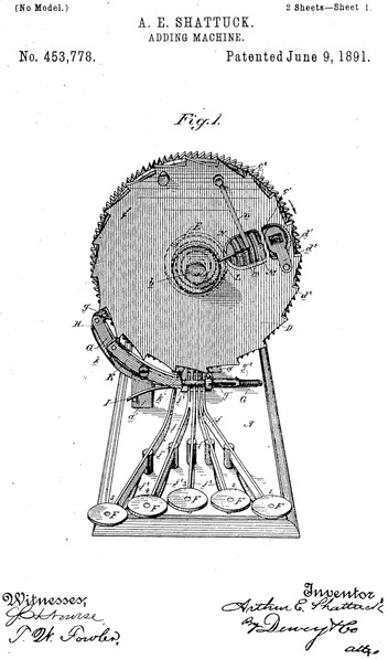 Centrigraph Adding Machine Patent