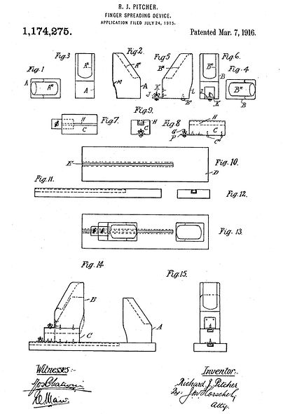Pitcher Finger Spreading Device Patent