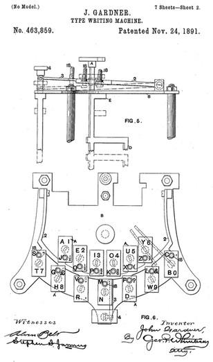 Gardner Typewriter Patent