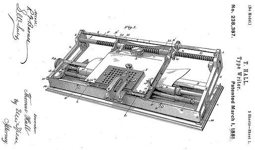 Hall Typewriter Patent