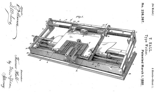 Hall Typewriter Patent