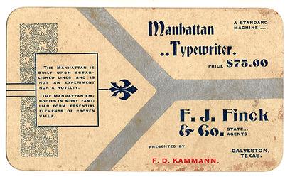 Manhattan Typewriter Business Card
