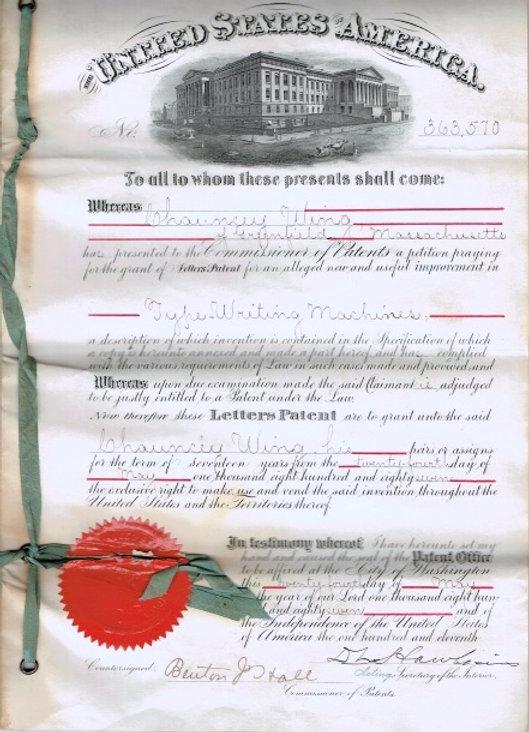 U.S. Typewriter Original Patent Paperwork
