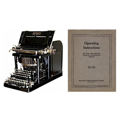 Burroughs Moon Hopkins Typewriter Bookkeeping Machine Instruction Manual (PDF)
