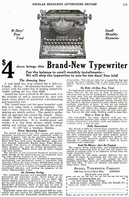 Annell Typewriter Ad