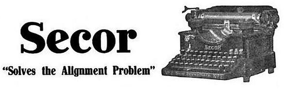 Secor Typewriter Ad ca.1912