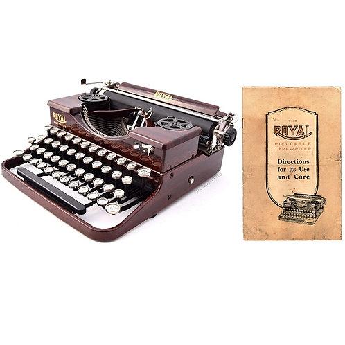 Royal Model P Typewriter w/Exposed Ribbon Spools Instruction Manual